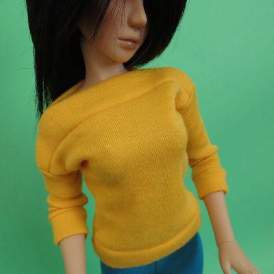 Golden yellow wide neck shirt for BJD