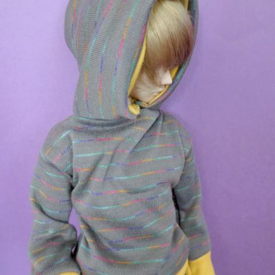 Gray Rainbow Stripe Hoodie for BJD