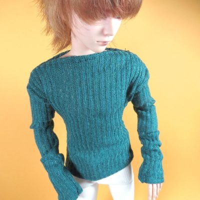 Ball Jointed Doll Green Gold Sweater