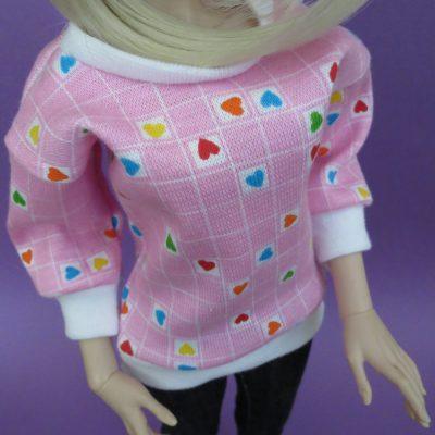 Pink Heart Print Shirt for BJD