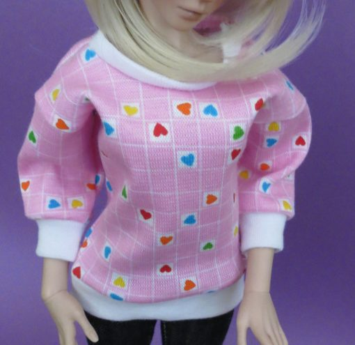 Pink Heart Print Shirt for BJD