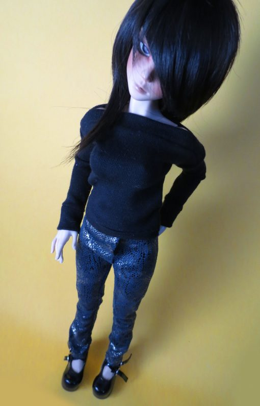 Blue Snakeskin Pants with Metallic Gold BJD CLothing